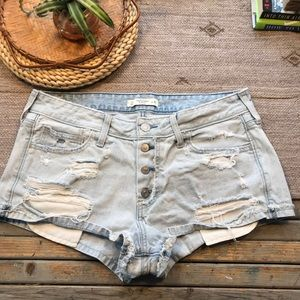 Abercrombie and Fitch Distressed button fly shorts